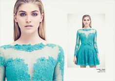 LOOKBOOK SELECTED - Louisa - Lace Skater dress with sheer panels and bow belt
