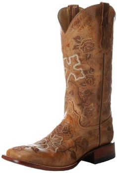Ferrini Womens Distressed Floral Cross Western BootAntique Saddle6 B US ** Find out more about the great product at the image link.