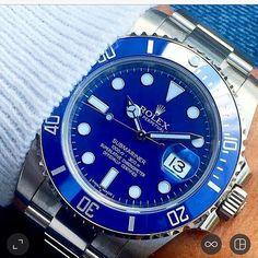 The Rolex Submariner Blue in White Gold. . . #rolex #rolexwatch #rolexsubmariner #submariner #bobswatches #rolexforum #hodinkee #rolexpassion #watchaddict #watchoftheday #watchporn #watchesofinstagram credit @dailywatch