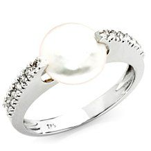 "Imperial Pearls 14K Pearl ""Coin"" .21ct Diamond Ring"