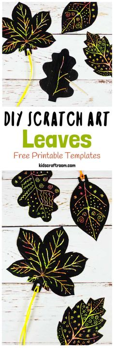 DIY SCRATCH ART LEAVES are gorgeous! This Fall craft is easy to make with our free printable templates and so colourful and vibrant! A lovely leaf art idea for Fall and Thanksgiving. Autumn Activities For Kids, Fall Crafts For Kids, Art Activities, Diy For Kids, Kids Crafts, Autumn Art Ideas For Kids, Thanksgiving Art Projects, Thanksgiving Crafts, Art Crafts