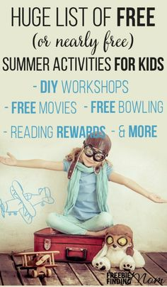 Are the kids bored? They won't be after you peruse this HUGE list of FREE summer activities for kids. Here you'll find fun yet educational ideas like FREE movie programs, places to go bowling for FREE, DIY crafts, and much more.