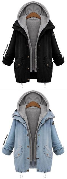 Hooded Drawstring Pockets Two Piece Coat Denim Jacket Men, School Fashion, Cute Casual Outfits, Sweater Jacket, Korean Fashion, Winter Outfits, Fashion Outfits, Sweatshirts, Hoodies