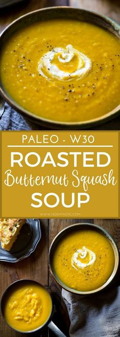 This naturally creamy Roasted Paleo Butternut Squash Soup with Apple is so easy to make and super healthy, it's gluten free and Whole30 and can be made vegan #whole30 #w30 #paleo #paleosoup #w30soup #whole30soup #fallsoup #wintersoup #squashsoup #glutenfreesoup