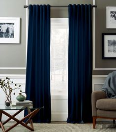 Navy blue curtains in living room