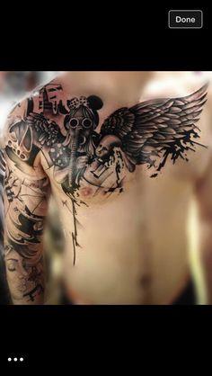 8080159f818 Chest   arm tattoo Time Tattoos
