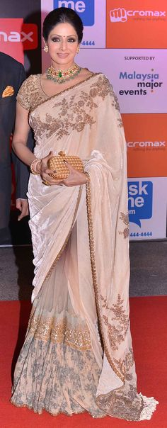 Sridevi looked beautiful in a beige saree with golden thread-work at SIIMA Awards 2014 India Fashion, Asian Fashion, Beautiful Saree, Beautiful Outfits, Beautiful Life, Indian Dresses, Indian Outfits, Indian Bridal Fashion, Elegant Saree