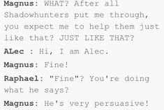 That's basically what happened and Magnus saved their asses all the time just because of ALEC