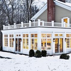 perfect sunroom & love the color of the house