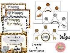 Zoo Birthday Kit (Certificates & Crowns) FLASH FREEBIE!