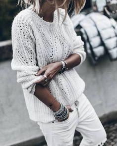 Imagen de bracelets, jeans, and knit