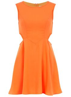Orange cut out skater dress