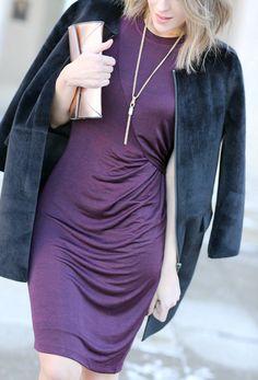 Faux fur coat + ruched dress