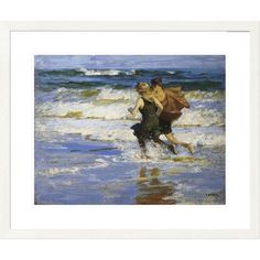 Global Gallery 'Coastal at the Beach' by Edward Henry Potthast Framed Painting Print Size: