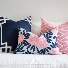 Preppy throw pillows from Caitlin Wilson. Love!!! #preppy #decorating #pillows #pink #navy