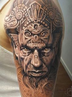 Aztec Warrior tattoo by Arlo Tattoos Half Sleeve Tattoos For Guys, Tribal Tattoos For Men, Half Sleeve Tattoos Designs, Best Sleeve Tattoos, Body Art Tattoos, Henna Tattoos, Tattoos Pics, Aztec Tattoos Sleeve, Tatoos