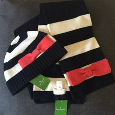 Kate Spade Hudson Stripe Beanie & Matching scarf Kate Spade Hudson Stripe Beanie is black white and reddish. Bnwt never worn. I have matching scarf to sell w it pictures coming tonight -knit material and pattern is adorbs! Perfect for gifting✨ scarf value $125+tax beanie value $88 +tax these were sold separately but  doing an excellent deal on bundle. Absolutely no returns! kate spade Accessories Hats