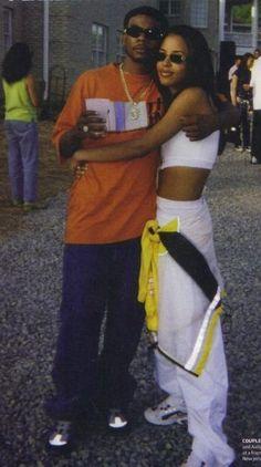 Aaliyah and static major Black 90s Fashion, Fashion 90s, Hip Hop Fashion, Fashion Outfits, Queer Fashion, Urban Fashion, Fashion Styles, Mode Old School, New School Hip Hop
