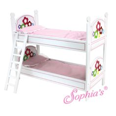 Sophia-039-s-WHITE-BUNK-BED-W-PAINTED-FLOWERS-LADDER-amp-BEDDING-for-18-034-Dolls-NEW