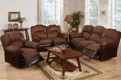 "Poundex 3pcs Recliner Set ""Chocolate"" - @ Home Furnishings of Florida Corp"