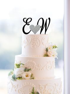 New to ChicagoFactory on Etsy: Monogram Wedding Cake Topper Custom Two Initials and Small Heart Topper Available in 15 Colors 12 Fonts and 18 Glitter Options- (S174) (30.00 USD)