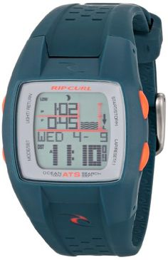 Rip Curl Women's A1041G - TEA Oceansearch Teal Digital Surf Watch -   Surf watch featuring square case with easily-accessed orange pushers and backlight Additional functions include: moon phase, date display, pre-set tidal information for the next 10 years, and 200 pre-set beach locations 35 mm high-impact and lightweight plastic case with mineral dial window Quartz movement with digital display Polyurethane band with buckle closure Water resistant to 100 m (330 ft): In gener