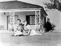 Robert Taylor & Barbara Stanwyck at home when all was peaches and cream...