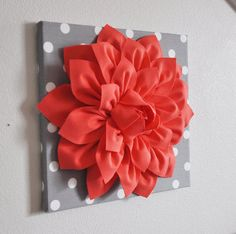 """Very fun wall decor...or pillow decor, haven't decided. Wall Flower Decor -Coral Dahlia on Gray and White Polka Dot 12 x12"""" Canvas Wall Art- Baby Nursery Wall Decor-"""