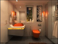 Bathrooms are used less frequently and for limited amount of time hence, bold colors for a small bathroom works well. Keeping this in mind a crisp contrast of white and orange is used as an ultimate combination for modern aesthetics.  Stone finish wall tiles, orange WC along with sculptural A counter top basin is fixed above the backlit alabaster giving it a tint of orange gleam. Designing a shower cubicle saves on the space making the bathroom flexible to use.