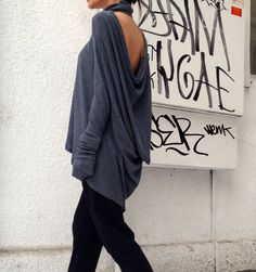 Casual Grey Loose Top / Long sleeved Asymmetric Blouse by Aakasha, $69.00