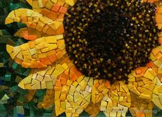 Sunflower mosaic Smalti, the deeper yellow hues in the lower petals gives this piece beautiful depth.
