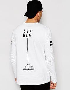 Camiseta larga de manga larga de corte holgado con estampado trasero Stockholm de ASOS