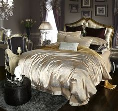discount luxury tribute silk satin jacquard bedclothes bedding set wedding noble palace bed set cotton bed