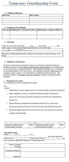 The Temporary Guardianship Form Is A Free, Printable Table That