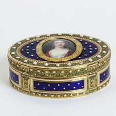 Enamelled gold box, on the lid rose-cut diamonds and an enamel miniature inserted later, maker's mark for J-E Blerzy, Paris, 1783-4.