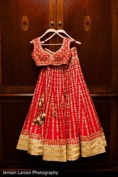 Beautiful Silk Lehenga with Hand Embroidered blouse. Lehenga is embellished with gota and zardose work. Indian Bridal Lehenga, Red Lehenga, Party Wear Lehenga, Indian Bridal Wear, Indian Wedding Outfits, Bridal Outfits, Indian Outfits, Indian Wear, Eid Outfits