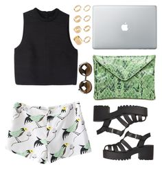 """""""Think about it"""" by viccc10 ❤ liked on Polyvore featuring Proenza Schouler, rekavago, ASOS, croptop, shorts, sunglasses and apple"""