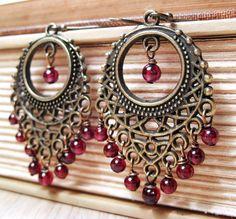 Bohemian Earrings . Wine Red Garnet Gemstone Antiqued Brass Chandelier Earrings