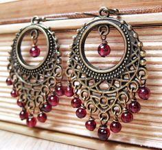 Bohemian Earrings Wine Red Garnet Gemstone by NovemberJewelry