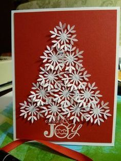 Christmas card…white punch snowflake tree on red…simple with complex texture…luv it! Homemade Christmas Cards, Christmas Cards To Make, Noel Christmas, Xmas Cards, Christmas Greetings, Handmade Christmas, Homemade Cards, Holiday Cards, Christmas Crafts