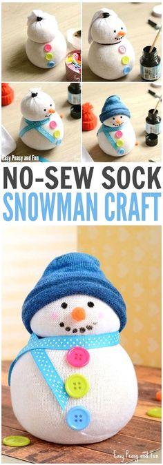 DIY No-Sew Sock Snowman Craft for Kids and Grownups. Such a fun DIY Gift Idea snowman crafts No-Sew Sock Snowman Craft Sock Snowman Craft, Snowman Crafts, Sock Crafts, No Sew Crafts, Crafts With Socks, Snowman Craft Preschool, Diy Snowman Gifts, Fabric Crafts, Snowman Soup