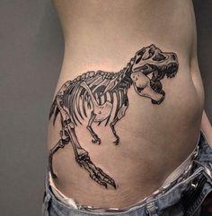 Blackwork tattoo on side by Vildan Vildan Blackwork tattoo on side by Vildan Vildan T Rex Tattoo, Get A Tattoo, Tattoo Drawings, Side Tattoos, Body Art Tattoos, Cool Tattoos, Tatoos, Dinosaur Tattoos, Skeleton Tattoos