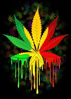 Buy Marijuana Leaf Rasta Colors Dripping Paint by BluedarkArt as a matted print, mounted print, canvas print, framed print, or art prints