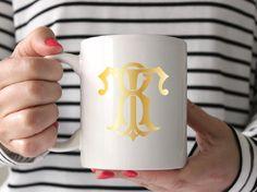 Monogram gold foil mug, Personalized Mug, Bridesmaid Gift, Personalized Gift, Monogram Mug, Gift for her, under 50, vintage monogram by SequinsAndLipstick on Etsy