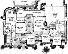 Luxury Style House Plans - 3504 Square Foot Home, 1 Story, 4 Bedroom and 3 3 Bath, 3 Garage Stalls by Monster House Plans - Plan 8-719