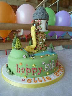Tangled (Repunzel) cake I made for my son's friends Ellie & Grace