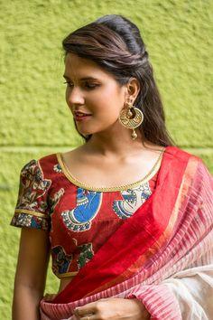 Maroon Kalamkari U neck blouse with puff sleeves  #blouse #saree #houseofblouse #desi #indianwear #summer #maroon #kalamkari #cotton #puff #sleeves