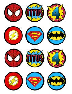 For my Super Hero's birthday cupcakes.           I think parties are much more fun when they go around a theme. These toppers really toppe...