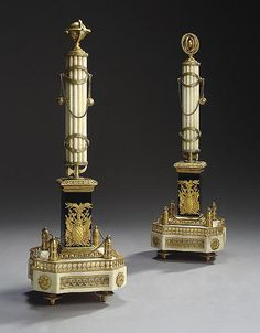 A PAIR OF RUSSIAN ORMOLU-MOUNTED WHITE AND BLACK MARBLE COLU