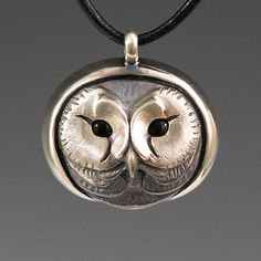 Silver Saw Whet Owl / plain pendant by Brooke Stone Jewelry